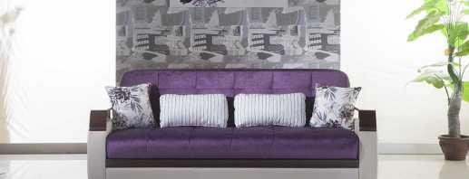 Caractéristiques de l'utilisation du canapé violet, matériaux de fabrication