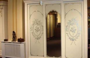 Aperçu des armoires mises en œuvre dans un style classique, les nuances de choix