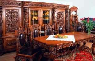 L'utilisation de meubles sculptés à l'intérieur, différentes options et leurs caractéristiques