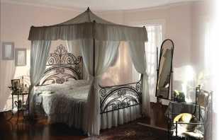 Les raisons de la popularité du lit à baldaquin en fer forgé, critères de sélection