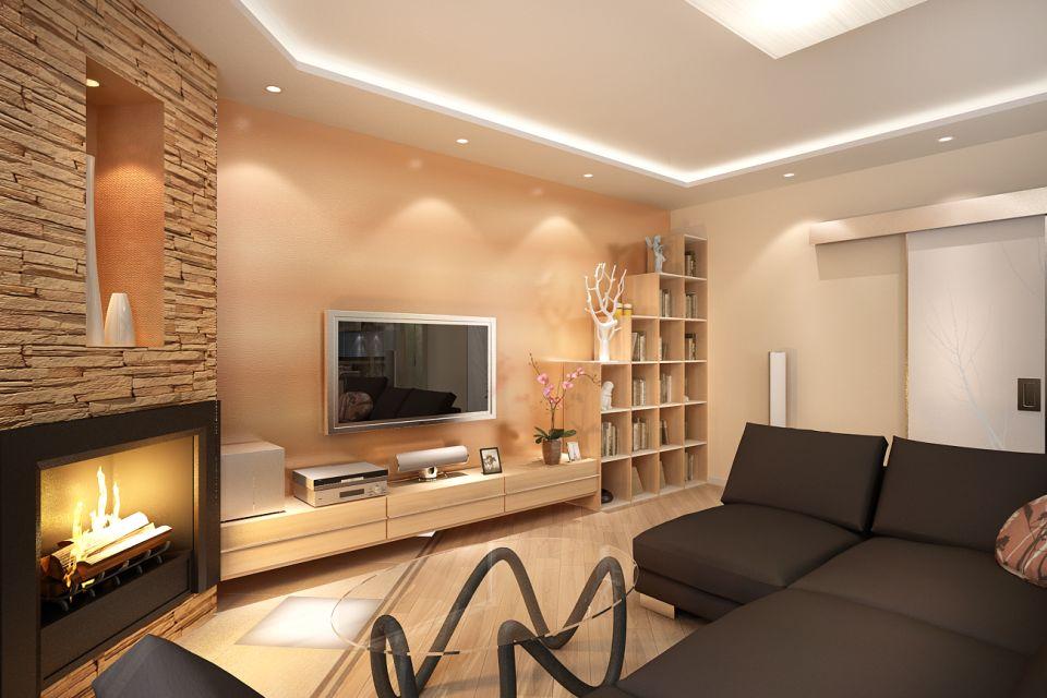 Nous créons un agencement asymétrique de meubles dans le salon