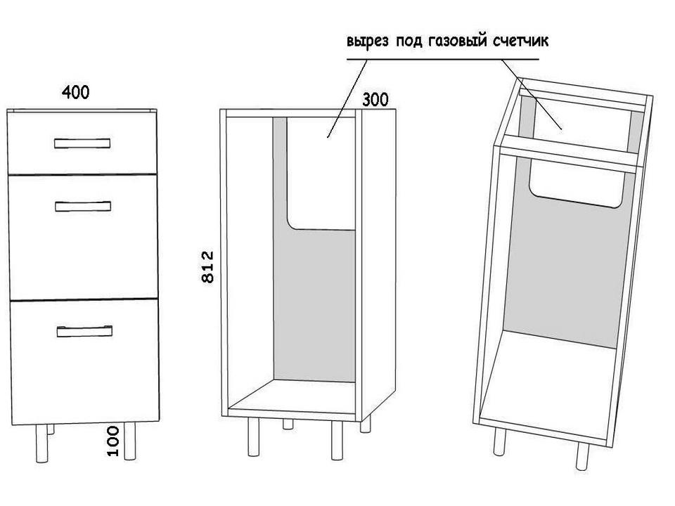 Armoires de cuisine inférieures avec tiroirs