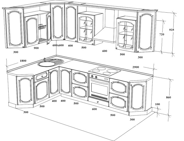 Exemple de dessin et dimensions d'une cuisine d'angle