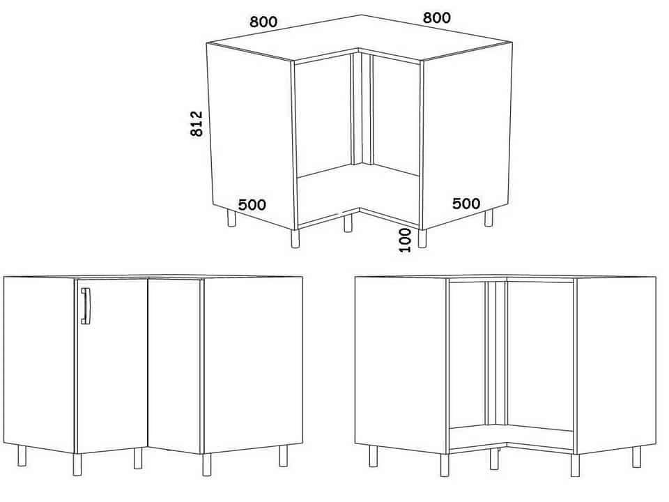 Tailles typiques des armoires de cuisine d'angle