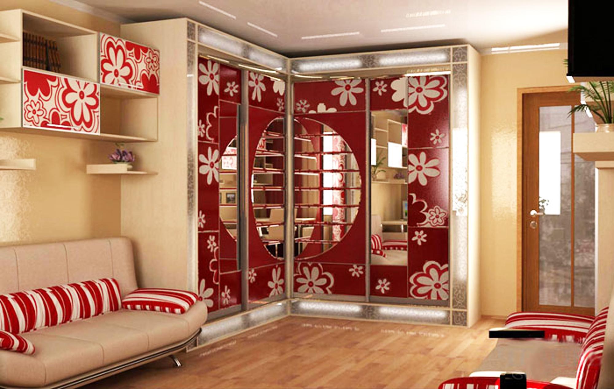 Choisissez une armoire dans le salon dans tout le mur