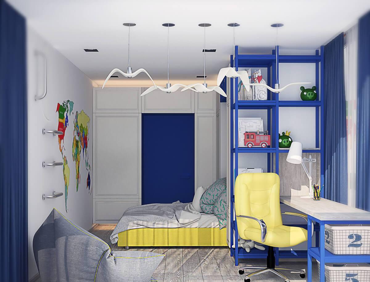 Chambre d'enfant pour un garçon aux couleurs bleues et jaunes