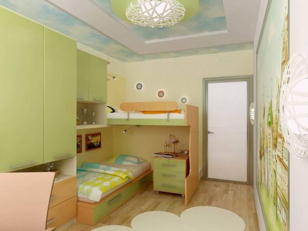 Conception de la chambre des enfants dans des couleurs vert vif