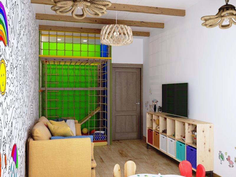 Salle de jeux avec canapé et TV