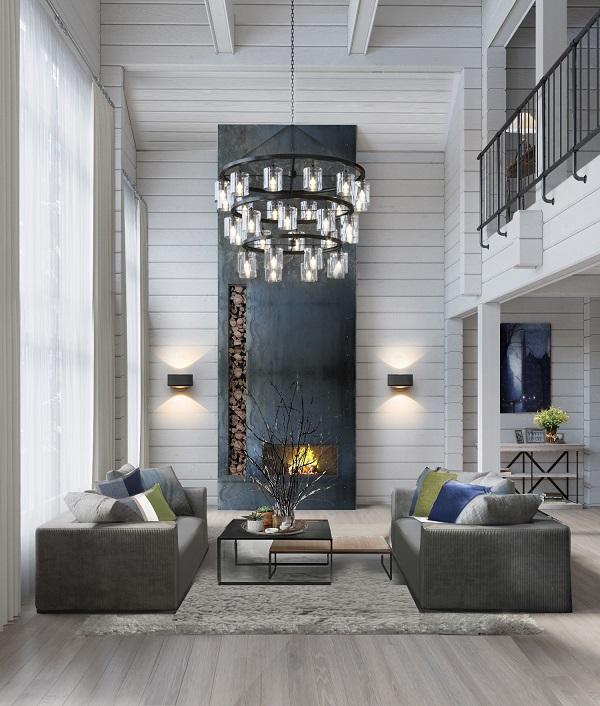 Salon spacieux conçu dans un style moderne