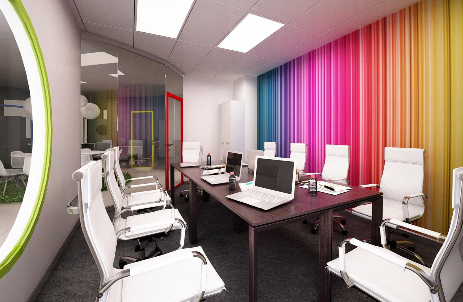 Mur multicolore dans la chambre