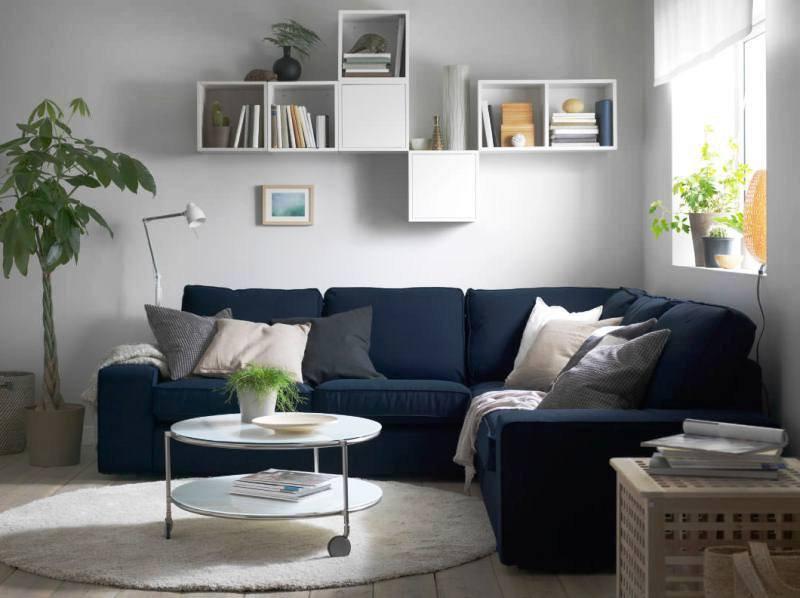 Magnifique canapé d'angle bleu