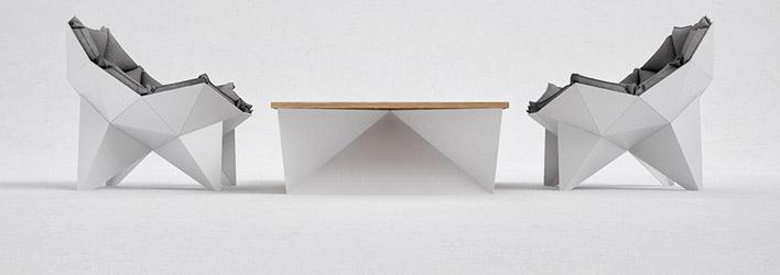 Tables et chaises en blanc