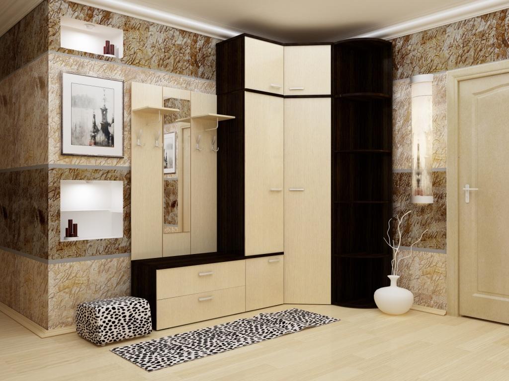 Chambre sombre avec placard d'angle