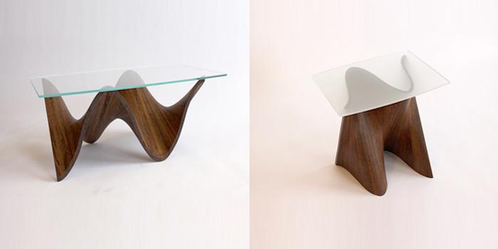 Table basse en verre en bois